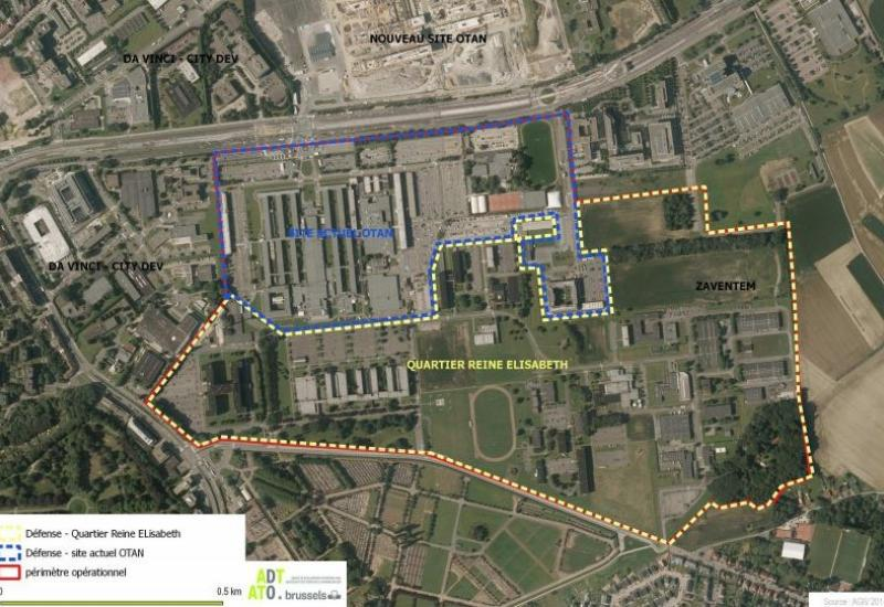 Site Defense (90 ha). Nord: ex-NATO et Sud: siège Defense