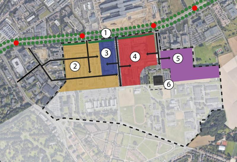 zones de développement urbain : 1.Park Lane, 2.Quartier urbain, 3.Ecole européenne, 4.QG Défense, 5.Economic Zone, 6.Partnership for Peace